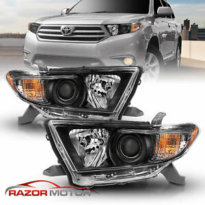 factory Style for 2011 2012 2013 Toyota Highlander Black Headlights Pair