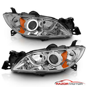2004 2009 Mazda 3 Ccfl Halo Projector Chrome Headlights Pair 2005 2006 2007 2008