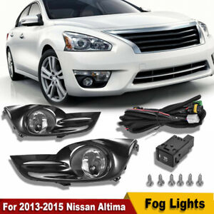For 2013 2015 Nissan Altima Sedan 4dr Clear Fog Lights Lamps Kits Switch Harness