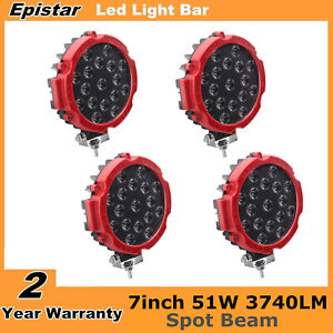 4x 7inch 51w Round Led Work Lights Spot Offroad Boat Atv Suv Truck Lamp Red Slim