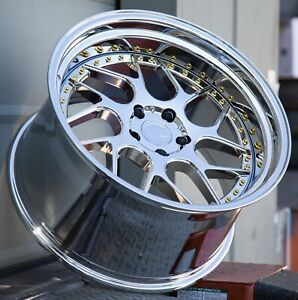 Set 4 Staggered Aodhan Wheels Ds01 18x8 5 9 5 5x114 3 35 30 Vacuum Gold Rivets