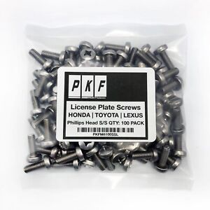 License Plate Stainless Screws For Honda Toyota Lexus Qty 100