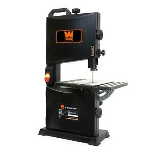 2 8 Amp 9 In Benchtop Band Saw Vertical Lockout Power Switch Steel Wood 44lb
