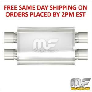 2 5 Magnaflow Stainless Muffler Dual Inlet Dual Outlet 14 Body Length 11386