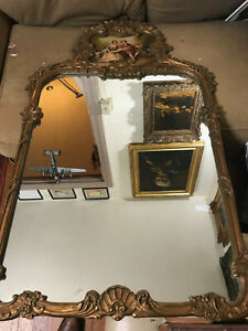 Stunning Antique Gold Gilt Framed Mirror With Painting 30 5 Wide X 50 5 Tall
