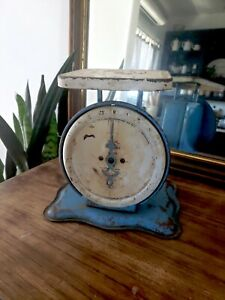 Vintage Pelouze Family Scale 24lb Old Farm House Kitchen Blue Rusty Early 1900s