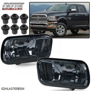 For 2009 2012 Dodge Ram 1500 3500 Smoke Lens Bumper Driving Fog Light Lamp Pair