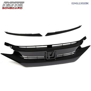 For 16 17 18 Honda Civic 10th Factory Style Glossy Black Mesh Front Hood Grille