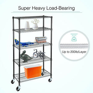 Adjustable Stainless Steel 5 Tier Shelf Storage Rack Wire Shelving Unit Black