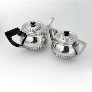 Fluted Teapot Sugar Bowl Set Dominick Haff Sterling Silver 1886 Mono