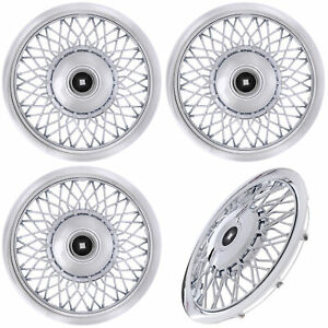 Set Of 4 Piece 15 Inch Chrome Wire Spoke Classic Hub Caps Wheel Covers Caps