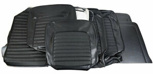 1966 Mustang Fastback Standard Front Buckets Rear Seat Cover Set Black