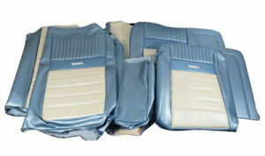 1964 1966 Mustang Deluxe Pony Front Bench Rear Seat Cover Set Blue White