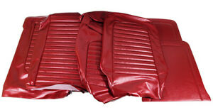 1966 Mustang Conv Std Front Buckets Rear Seat Cover Set Red Metallic