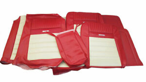 1964 1966 Mustang Conv Deluxe Front Bench Rear Seat Cover Set Red White