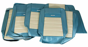 1964 1966 Mustang Conv Deluxe Front Buckets Rear Seat Cover Set turq white