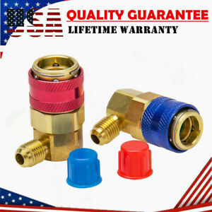 2 Ac R134a Low High Quick Connector Adapter Coupler Auto A c Manifold Gauge Hvac