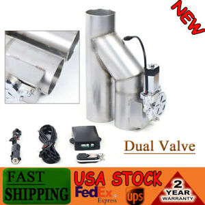 3 76mm Electric Exhaust Dual Valve System Cut Out Downpipe Y Pipe Kit W Remote