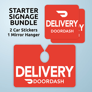Doordash Starter Signage Bundle Includes Car Mirror Hanger And 2 Stickers
