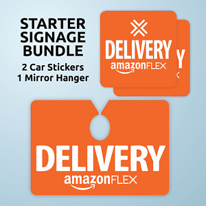 Amazon Flex Starter Signage Bundle Includes Car Mirror Hanger And 2 Stickers