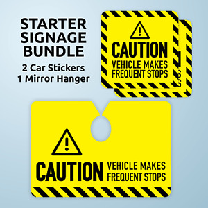 Caution Sign Starter Signage Bundle Car Mirror Hanger And 2 Stickers