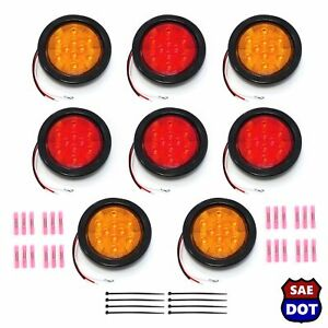 8 Round 4 Led Light Stop Turn Light 4 Red 4 Amber Flush Mount Trailer Dlux Kit