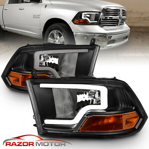 For 2009 2018 Dodge Ram 1500 2500 3500 Black Led Bar Plank Style Headlights Pair