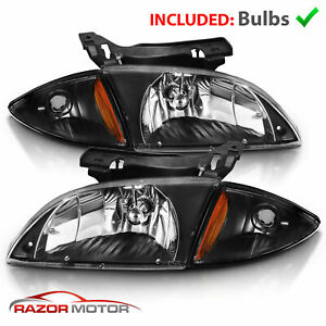 For 2000 2002 Chevy Cavalier Z24 Black Oe Style Headlights Corner Lights