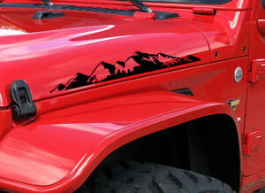 2 Mountains 3 Compatible Jeep Wrangler Hood Decals Stickers Rubicon Tj Jk Cj Yj