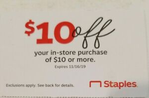 Staples Coupons 10 10 Off 10 Or More In Stores Purchase Exp 11 16 19