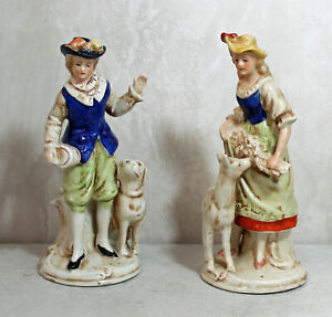 Pair Of Porcelain Figurines Man Woman With Dogs