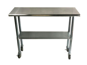 Commercial Stainless Steel Food Prep Work Table 30 X 48 With Casters Wheels
