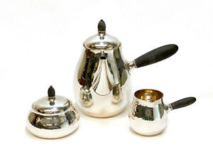 Georg Jensen Sterling Silver Hand Hammered Modernist 3pc Coffee Service In 80