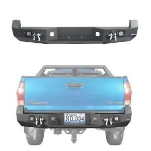 Fit For 2005 2015 Toyota Tacoma Textured Steel Rear Bumper Bar W Led Light