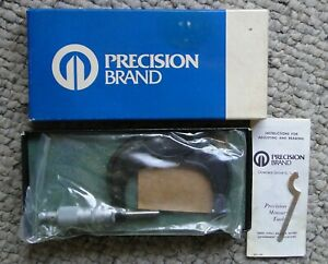 Vintage Precision Brand 2 3 Solid Frame W c l r v Machinist Micrometer W wrench