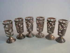 Vtg Mexico Sterling Silver 925 Overlay Cordials Shot Glasses Set Of 6 Nice
