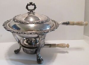 Antique Gorham Silverplate Chafing Dish On Stand Ornate Monogrammed