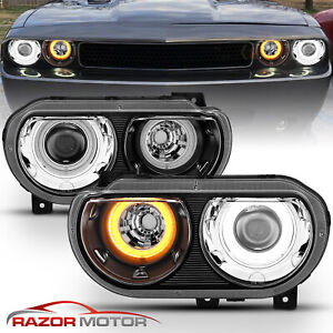 For 2008 2014 Dodge Challenger Hid Projector Dual Led Halo Amber Black Headlight