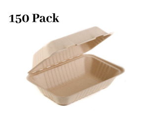 150 Pack 6 X 9 X 3 In Compostable Clam Shell Take Out Food Container