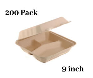 200 Pack 9 Inch 3 Compartment Compostable Hinged Take Out Food Container