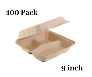 100 Pack 9 Inch 3 compartment Compostable Hinged Take Out Food Container