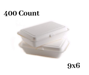 400 Count Biodegradable Take Out Food Containers With Clamshell Hinged Lid