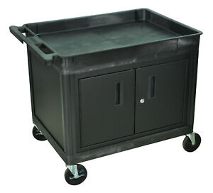 Luxor Tc12c b Tub Top Shelf Utility Cart With Cabinet With Wheels Black