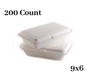 200 Count Biodegradable Take Out Food Containers With Clamshell Hinged Lid