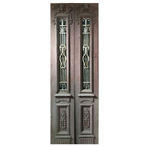 Salvaged Pair Of 34 Antique Figural Doors With Iron Inserts Ned1107