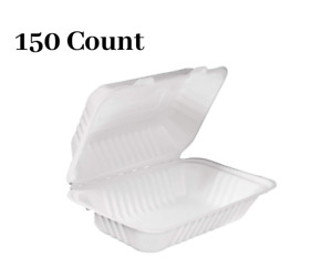 150 Pack White Compostable Clam Shell Hinged Take Out Food Container