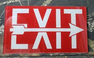 Vintage Glass Exit Sign Red White W Arrow Art Deco Movie Theater