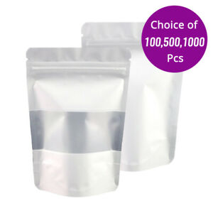 4x6in White Foil Mylar Matte Stand Up Zip Lock Bag W rectangle Window Machine