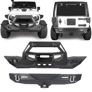 Hooke Road Front Bull Bar Rear Bumper W Winch Plate For Jeep Wrangler Jk 07 18