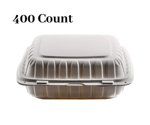 400 Pack 9 Inch 3 Compartment Clam Shell Take Out Food Container